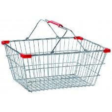 Металлическая покупательская корзина 22 л. хром