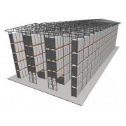 Самонесущий склад на паллетных стеллажах 12х39,5 м двухъярусный с одним перекрытием