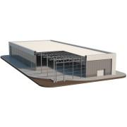 Самонесущий склад на основе фронтальных стеллажей с эксплуатируемой крышей 25,6х12,6 м